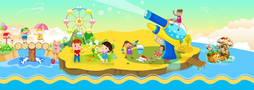 儿童卡通产品创意banner高清背景图片素材下载