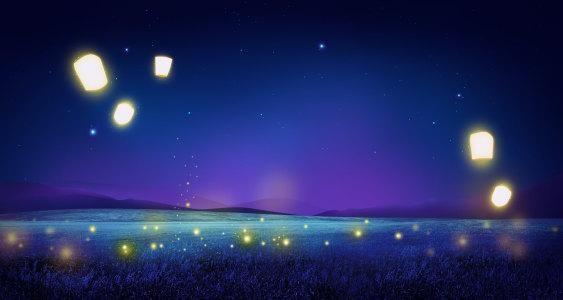 浪漫唯美紫色夜空背景