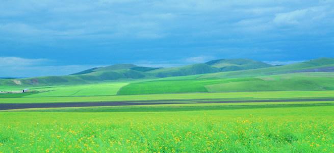 蓝天草地大气背景图高清背景图片素材下载