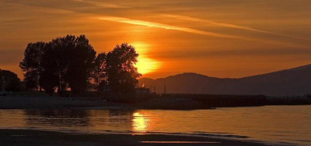 夕阳大海背景