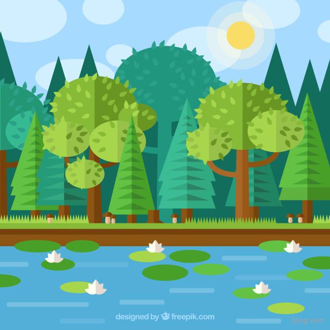 春季荷花池风景矢量背景高清大图-花池背景扁平/渐变/几何