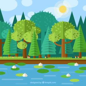 春季荷花池风景矢量