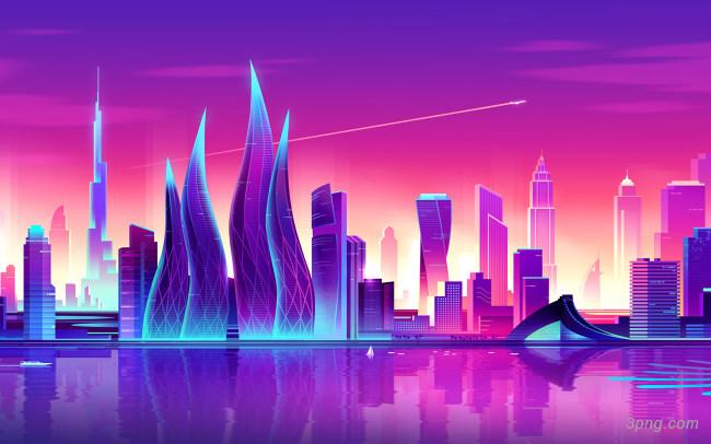 彩色城市背景背景高清大图-彩色背景城市建筑