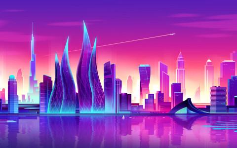 彩色城市背景