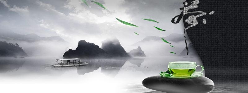 中国水墨风茶叶背景高清背景图片素材下载