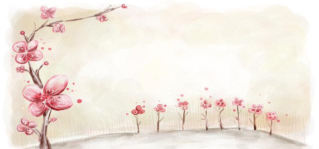 小清新粉色花瓣主题背景