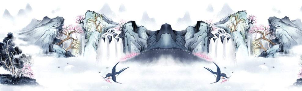 中国水墨画背景banner高清背景图片素材下载