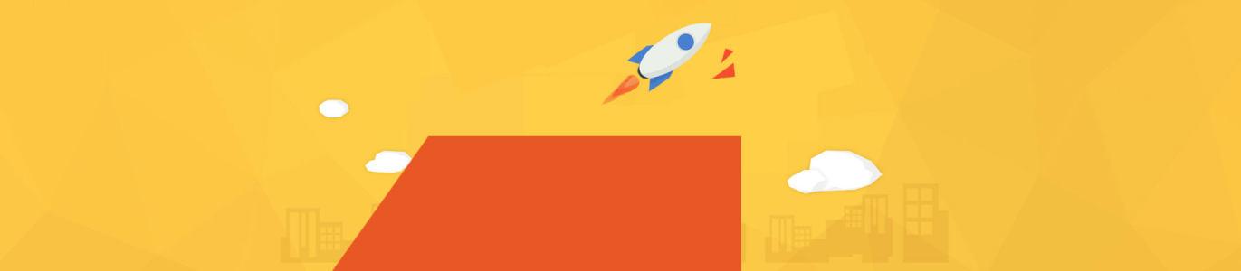 电商几何火箭背景banner