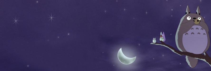 动漫龙猫夜景背景banner