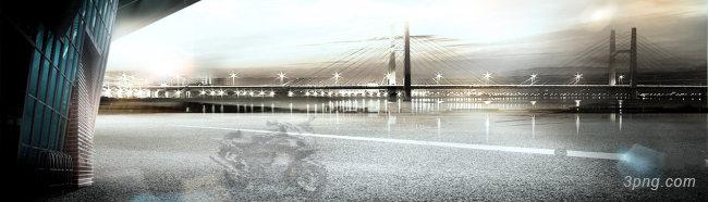 城市大桥夜景背景高清大图-夜景背景Banner海报
