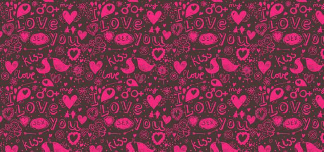 粉红色爱情手绘卡通纹理背景