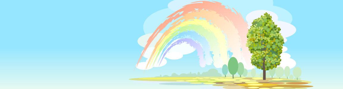 卡通 手绘彩虹背景