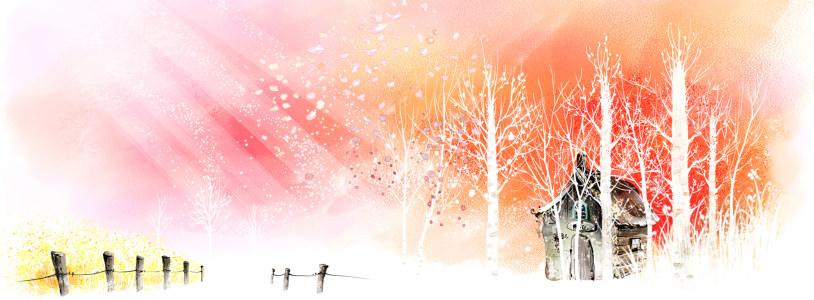 冬日树林水墨画背景banner高清背景图片素材下载
