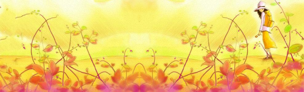 秋季金黄藤蔓背景banner高清背景图片素材下载