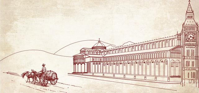欧州古建筑素描背景高清背景图片素材下载