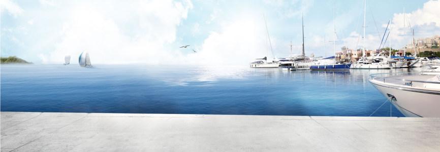 大海轮船背景banner高清背景图片素材下载