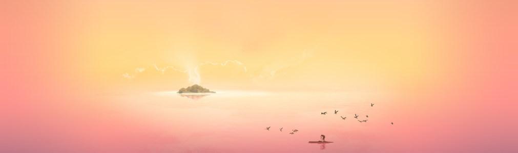 简约创意湖畔抓鱼banner背景高清背景图片素材下载