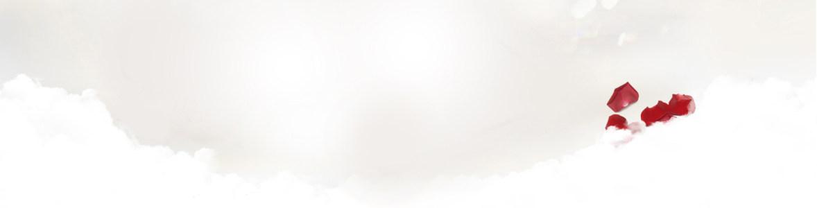 唯美清爽白色系白云玫瑰花瓣海报背景高清背景图片素材下载