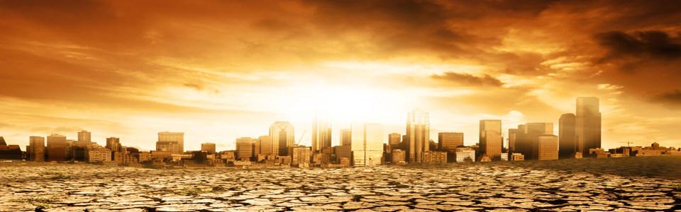 都市黄昏风景淘宝海报背景