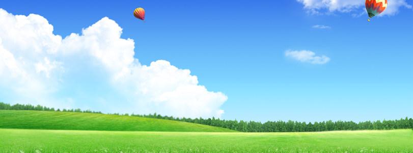 森林树林蓝天热气球背景banner