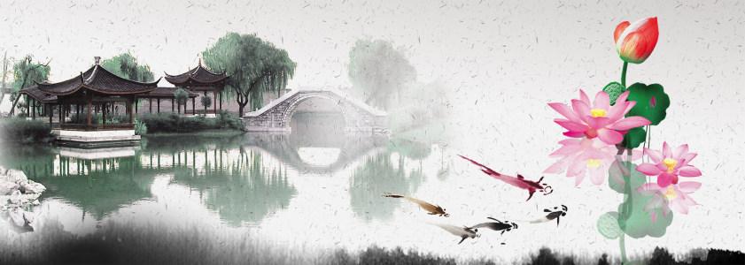 水墨画荷塘月色banner设计高清背景图片素材下载