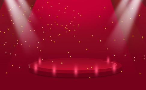 红色喜庆舞台背景