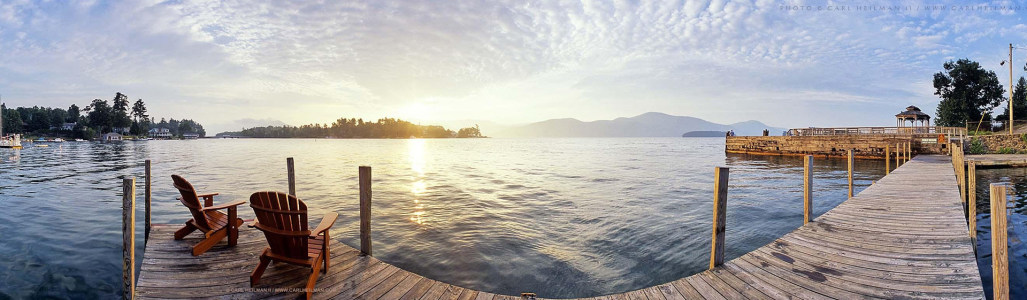 美国纽约乔治湖的早晨背景图