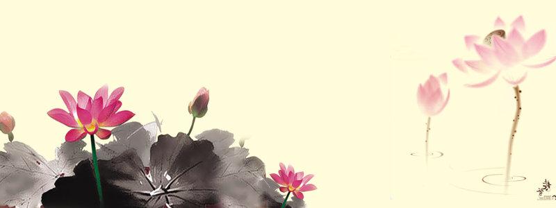 荷花中国风水墨画背景banner