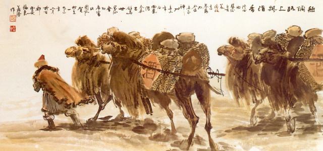 中国风酒文化水墨画