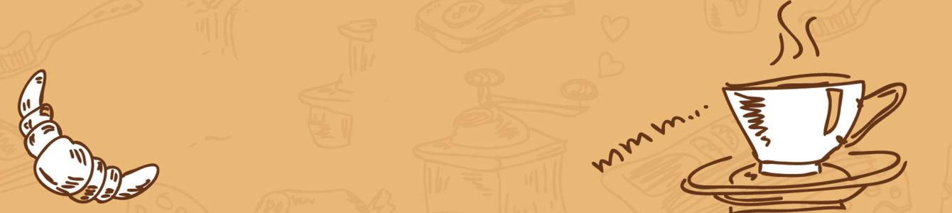 美食咖啡手绘背景banner