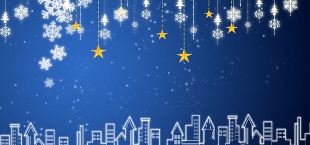 蓝色背景雪花星光点点
