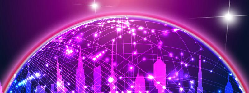 紫色科技地球背景