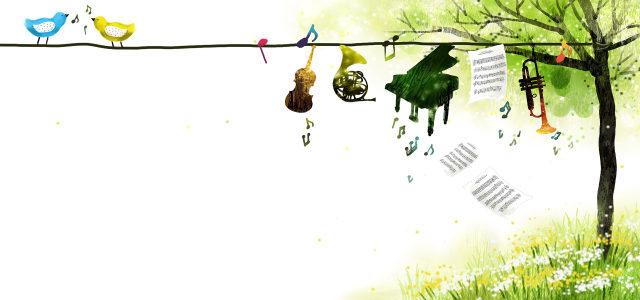 花草与小鸟乐器背景