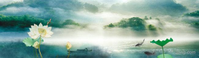 中国风荷花山水风景背景banner背景高清大图-花山背景Banner海报