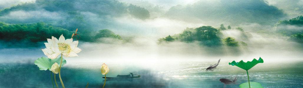 中国风荷花山水风景背景banner高清背景图片素材下载