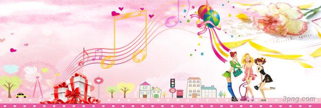 粉色音乐符号背景背景高清大图-粉色背景人物