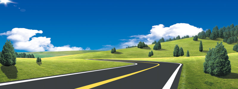 蓝天白云草地公路背景高清背景图片素材下载