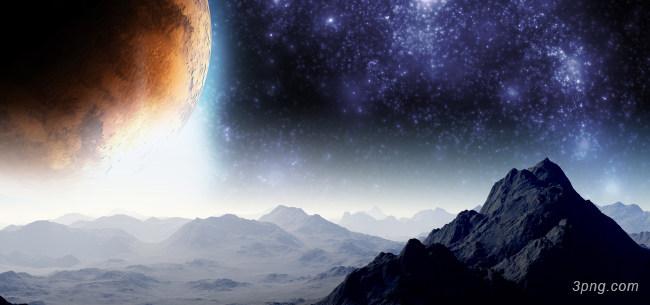 太空星空山脉背景高清大图-山脉背景古典/中国风
