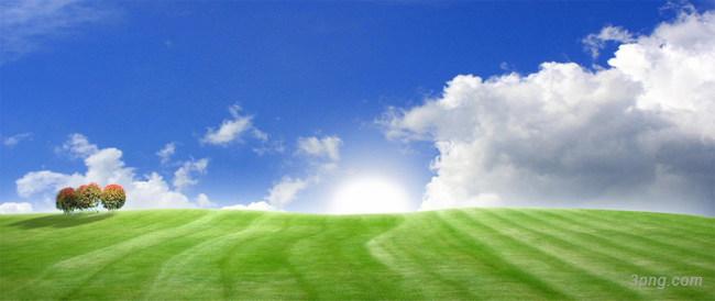 清新草地白云海报背景背景高清大图-白云背景底纹/肌理