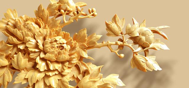 木雕立体背景墙富贵牡丹