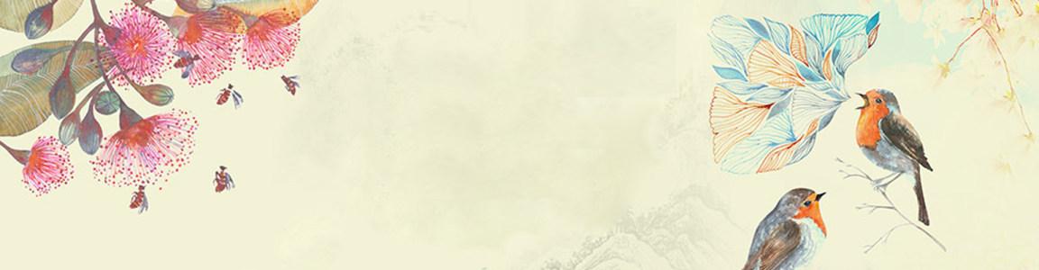 唯美手绘淘宝海报背景