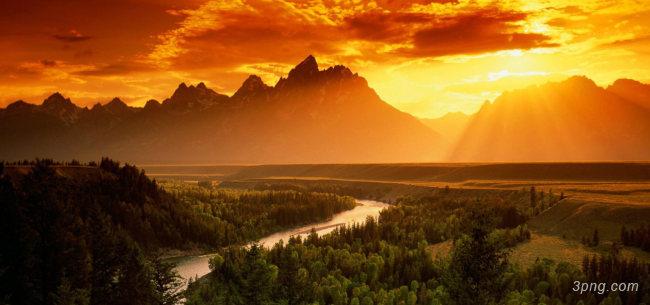 乡村夕阳自然风光背景背景高清大图-自然风光背景自然/风光