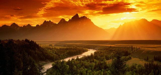 乡村夕阳自然风光背景