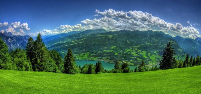 蓝天白云山坡背景高清背景图片素材下载