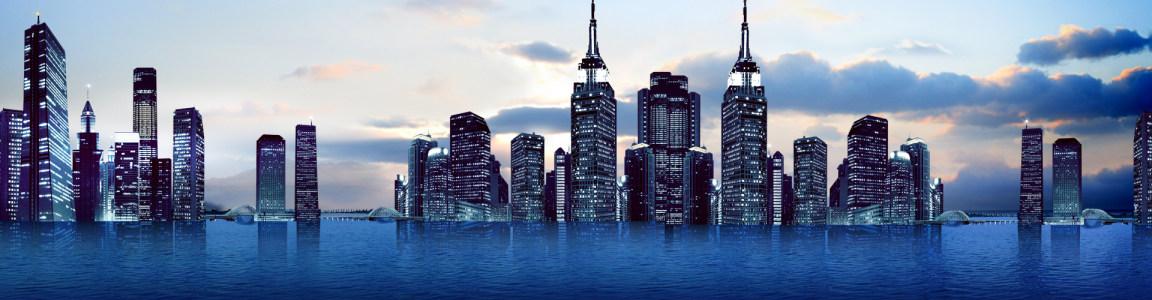 城市建筑暮色风光