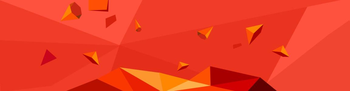 电商红色三角立体块背景banner
