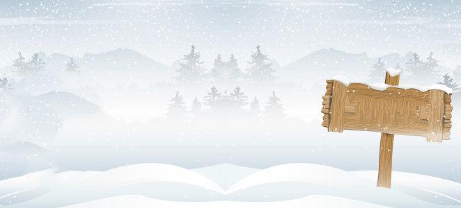 动漫冬季雪景木牌背景banner高清背景图片素材下载