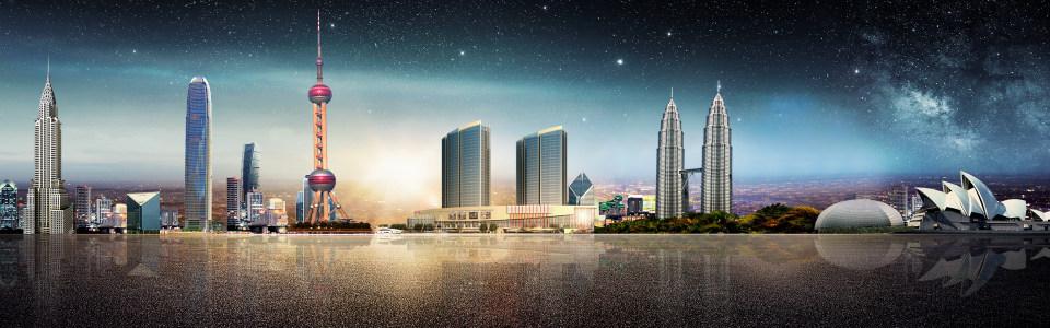 城市建筑大气海报背景高清背景图片素材下载