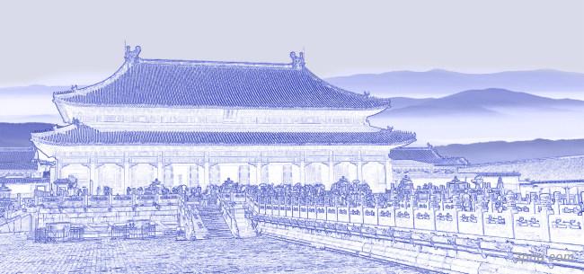 故宫素描背景背景高清大图-故宫背景古典/中国风