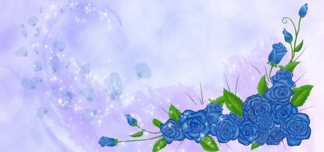 蓝色梦幻花朵背景